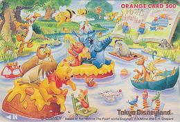 Carte Privée Orange Japon - DISNEY DISNEYLAND - OURS WINNIE POOH HIBOU Abeille Ane Cochon - OWL BEE JAPAN JR Card - EULE - Disney