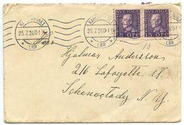 Sweden 1924 Cover Karlskrona  To Schenectady, New York W/ Scott 167 Coil Pair - Suède