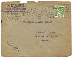 Czechoslovakia 1922 Cover W/ Philatelic Price Lists, Kral. Vinohrady To Philadelphia PA - Czechoslovakia