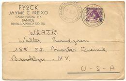 Brazil 1938 QSL Cover Santos - PY2CK To Brooklyn NY - W2AJR - Brazil