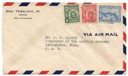 Panama 1939 Airmail Cover David To Ashburnham MA, Scott 235 236 C6A - Panama