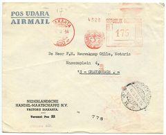 Indonesia 1954 Airmail Cover Djakarta To 'S-Gravenhage Netherlands, Meter - Indonesië