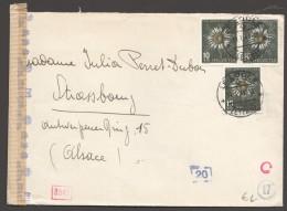 1943  Fleurs Alpines Sur Lettre  Pour Strasbourg  Zum 106 X3  Censure Allemande - Pro Juventute