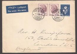 1946  Lettre Avion Pour L'Angleterre  Fleur Alpine  Safran  Zum 116 - Pro Juventute