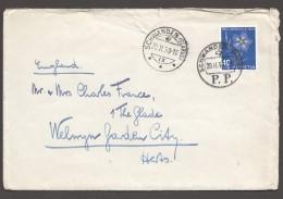 1950 Lettre Pour L'Angleterre  Oeillet  Zum 132 - Pro Juventute