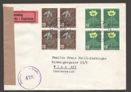 1949  Lettre Exprès  Pour L'Autriche  Fleurs Alpines Zum 130 Et 131 En Blocs De 4, Censure Autrichienne - Pro Juventute