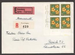 1959  Lettre Recommandée Exprès  Grande Capucine Bloc De 4  Zum 181 - Pro Juventute