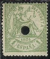 SPAIN ESPAÑA SPAGNA 1874 JUSTICE GIUSTIZIA USATO USED OBLITERE' PESETA 1p USATO USED OBLITERE' - 1873-74 Reggenza