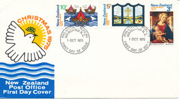 New Zealand FDC 1-10-1975 Christmas Stamps Complete Set Of 3 With Cachet - FDC
