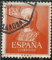 SPAIN ESPAÑA SPAGNA 1951 ANNIVERSARY 500th  BIRTH QUEEN ISABELLA I REGINA PESETA 1.50p USATO USED OBLITERE' - 1951-60 Gebraucht