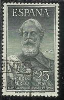 SPAIN ESPAÑA SPAGNA 1953 AEREO POSTA AEREA AIR MAIL LEGAZPI PESETAS 25p USATO USED OBLITERE' - Airmail