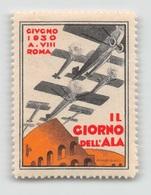 """07963 """"ROMA - GIUGNO 1930 A. VIII - IL GIORNO DELL'ALA"""" ERINNOFILO MAI APPLICATO. - Erinnofilia"""