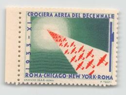 """07969 """"CROCIERA AEREA DEL DECENNALE - 1933 - XI - ROMA / CHICAGO / NEW YORK / ROMA"""" ERINNOFILO MAI APPLICATO. - Erinnofilia"""