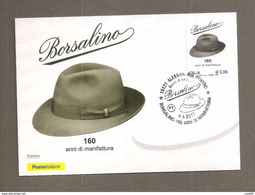 ITALIA  2017 BORSALINO  CARTOLINA MAXIMUM ANNULLO ALESSANDRIA - Cartoline Maximum