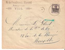 L. TP. 15c. Obl. Dépôt-relais De FALL-MHEER - Censure De MAASEIK V/Bruxelles R. - Weltkrieg 1914-18