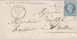 LETTRE. 21 FEVR 70. PAS-DE-CALAIS L'ARBRET. GC 132. ORIGINE RURALE OR  =  LA HAYE  /  2 - 1849-1876: Periodo Classico