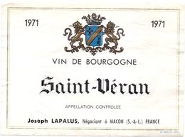 Etiket Etiquette - Vin - Wijn - Saint Véran - - Joseph Lapalus 1971 - Bourgogne