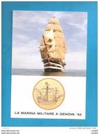 NAVE SCUOLA AMERIGO VESPUCCI  MILITARE GENOVA '92   CARAVELLA S.MARIA  CARTOLINA  NON VIAGGIATA - Velieri