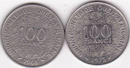 Etats De L'Afrique De L'Ouest 2 X 100 Francs 1968 Et 1975 - Monnaies
