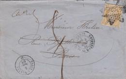 LETTRE . 4 MAI 66. ETOILE PARIS. N° 21 POUR PARIS TAXE PLUME 5 ANNULEE /  3 - 1849-1876: Periodo Classico