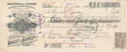236/20 - FRANCE Mandat Illustré Médailles Expositions UZES 1910 -  Réglisse Abauzit Et Aubrespy  - TP Fiscal 5 C. - 1900 – Pariis (France)
