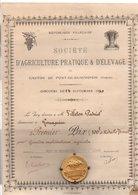 PREMIER PRIX (ET SA MEDAILLE) STé D'AGRICULTURE PRATIQUE ET D'ELEVAGE DU CANTON DE PONT DE BEAUVOISIN ISERE 14 SEPTEMBRE - Diplomi E Pagelle
