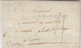 LETTRE . 22 DECEMBRE 1788. BOURGHACHARD. EURE NORMANDIE. LENAIN N° 2. CHATEAU DE SAINT Ce POUR ROUEN / 3 - Marcophilie (Lettres)