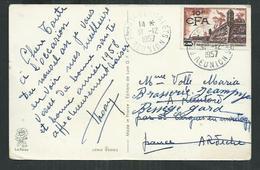 Réunion. Brouage Sur Carte Postale Oblitérée Du 31/12/1957 De Pointe Des Gallets - Réunion (1852-1975)