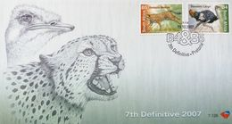 South Africa 2007 First Day Cover FDC Fauna Local Wildlife Ostriches Leopard Cats Birds Animals Mammals Nature Stamps - Afrique Du Sud (1961-...)