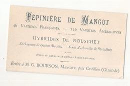 Carte De Visite Ancienne (post Phyloxéra )pépinière De  MANGOT  - Castillon La Bataille Hybride Pied Américain - France