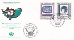 UNITED NATIONS 40° ANNIVERSAIRE DE L' ADMINISTRATION POSTALE DES NATIONS UNIES GINEVRA ANNO 1991 - Protezione Dell'Ambiente & Clima
