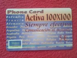 ANTIGUA TARJETA TELEFÓNICA PHONE CARD ESPAÑA SPAIN ESPAGNE ACTIVA 100 X 100 VER FOTO/S Y DESCRIPCIÓN IDEAL COLECCIÓNISTA - Espagne