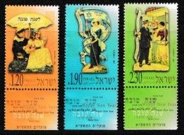 ISRAEL, 2000, Mint Never Hinged Stamp(s), Festival,  M 1567-1569, Scan 17176, With Tab(s) - Israel