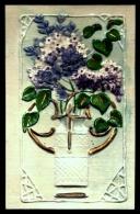 CPA ANCIENNE FRANCE-  COMPOSITION FLORALE- GAUFRAGE A CHAUD SUR CÉLULOÏD BLANC BRILLANT- DORURE- - Cartes Postales