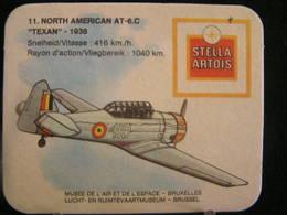 """Stella Artois - Sous Bock / Bierviltjes / Coasters, Musée De L'air Et De L'Espace - (11), North Amecan AT-6C """"Texan""""1938 - Sous-bocks"""