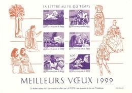 France - 1999 -  Meilleurs Voeux - La Lettre Au Fil Du Temps - Feuillet Offert Aux Réservataires - YT 3150/155 - Documents De La Poste