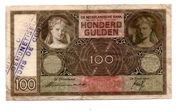 NEDERLAND 100 GULDEN 19.11.1940 BUITEN OMLOOP - [2] 1815-… : Regno Dei Paesi Bassi