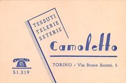 """08016 """"CAMOLETTO - TESSUTI - TELERIE - SETERIE - TORINO"""" CART. DA VISISTA ORIG. 1930 CIRCA - Cartoncini Da Visita"""