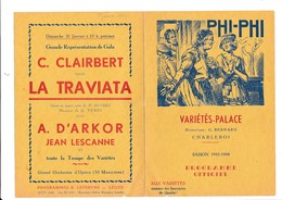 PROGRAMME-OFFICIEL-VARIETES-PALACE-CHARLEROI-DEPLIANT-OPERETTE-OPERA-BALLET-1944-PHI-PHI-VOYEZ LES 2 SCANS - Programmes