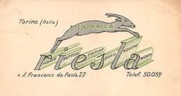 """08018 """"FABBRICA RIESLA - BOTTONI-CINTURE-BORSE - TORINO"""" CART. DA VISISTA ORIG. 1950 CIRCA - Cartoncini Da Visita"""