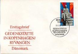 "DDR Schmuck-FDC Mi 1512 ""Gedenkstätte In Kopenhagen Ryvangen Dänemark"", ESSt BERLIN 28.10.1969 - [6] Repubblica Democratica"
