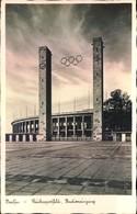 1936, Reichssportfeld, Stdioneingang, Glockenturm - AK Gelaufen 1940 - Summer 1936: Berlin