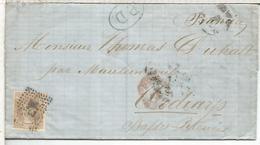 CARTA FECHADA EN SANTANDER 1870 A FRANCIA MARCAS Y MATASELLOS - Cartas
