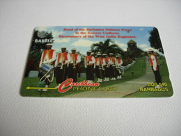 TELECARTE BARBADOS, BAND OF THE BARBADOS DEFENCE FORCE IN THE ZOUAVE UNIFORM. 16CBDBO11812 - Barbados