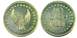 00254 GETTONE JETON TOKEN GAMING MACHINE EAGLE FREEDON TOKEN NO CASH VALUE - Royaume-Uni