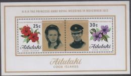AITUTAKI,  1973 ROYAL WEDDING MINISHEET MNH - Aitutaki