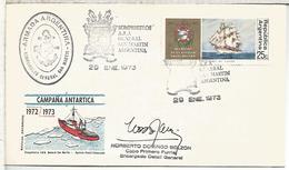 ARGENTINA CARTA CON MAT 1973 ROMPEHIELOS ARA GENERAL SAN MARTIN ICEBRAKER ANTARTIDA ANTARCTIC - Barcos Polares Y Rompehielos