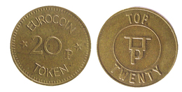 00257 GETTONE JETON TOKEN MACHINE TOP TWENTY EUROCOIN 20p - Royaume-Uni