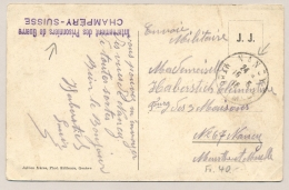 Schweiz - 1916 - POW-postcard From CHAMPERY To Nancy / France - Militaire Post