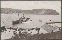 Arrival Of Boat, Lulworth Cove, Dorset, C.1910s - Photochrom Sepiatone Postcard - England